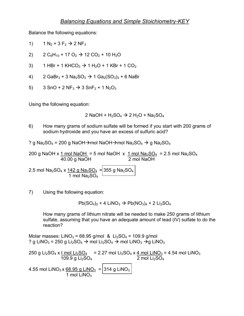 Key Solutions For The Stoichiometry Practice Worksheet