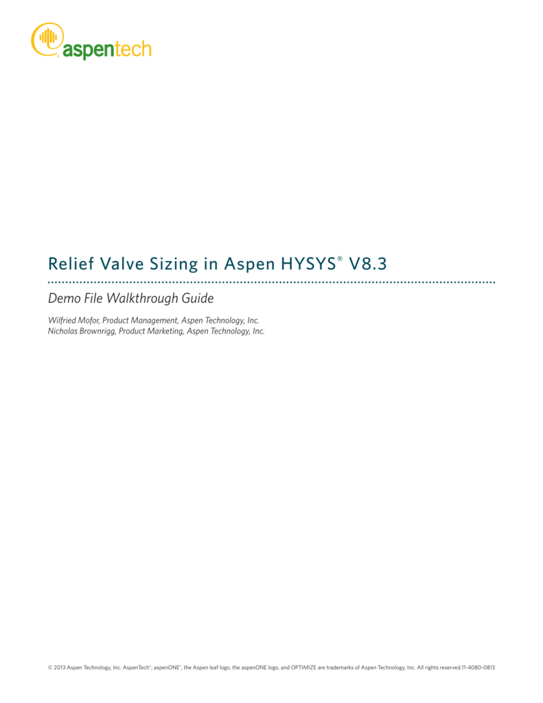 Relief Valve Sizing in Aspen HYSYS® V8