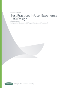 Best Practices In User Experience (UX) Design