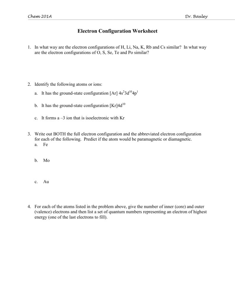 Dr Baxleys Electron Configuration Worksheet