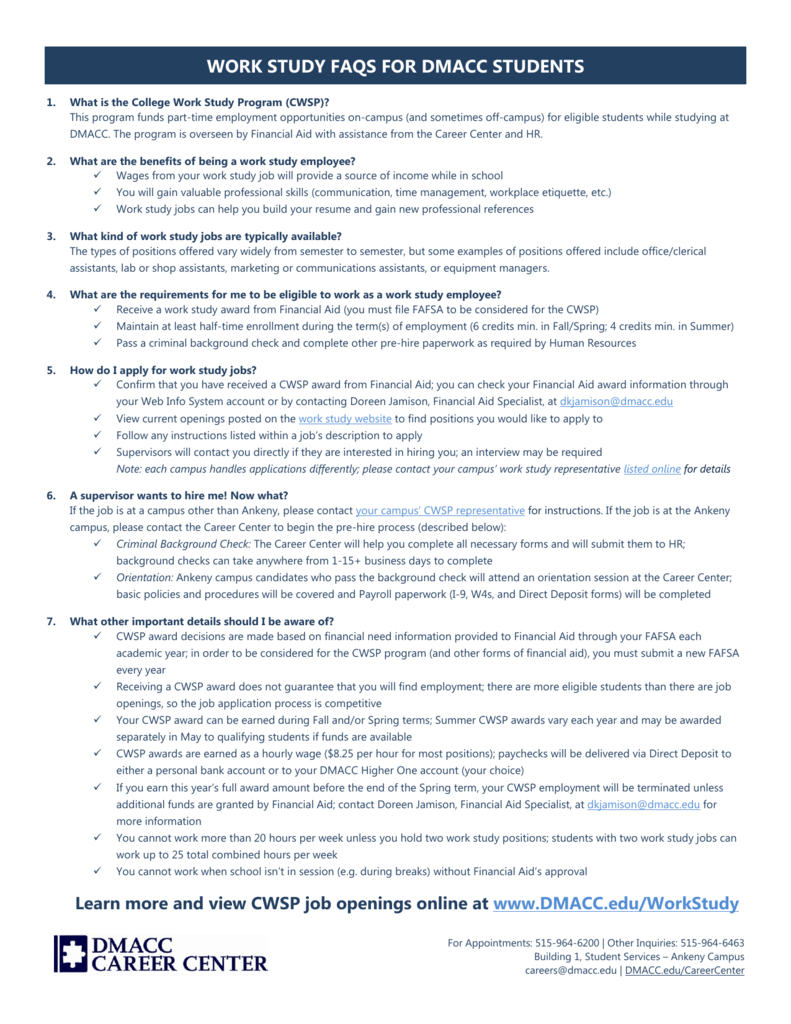 WORK STUDY FAQS FOR DMACC STUDENTS