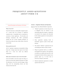 Frequently Asked Questions about Form 8-K