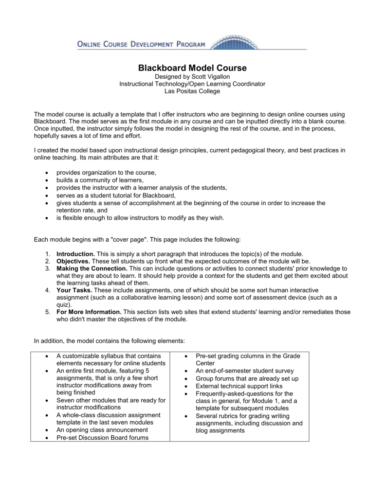 Blackboard Model Course
