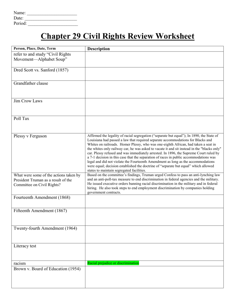 9BChapter 29 Review WorksheetCivil Rights – Civil Rights Worksheet