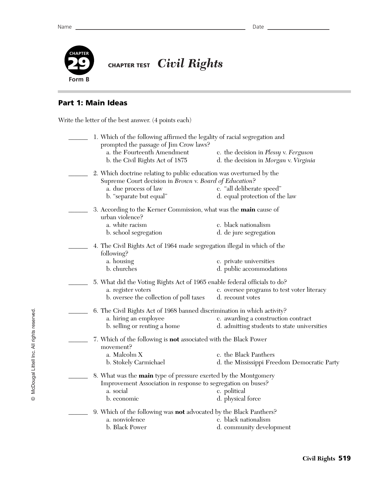 civil rights act essay In 1964 the civil rights act was passed in that bill was a section entitled title vii title vii prohibits discrimination based on race, national origin, color or.