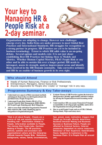 Your key to Managing HR & People Risk at a 2day seminar.