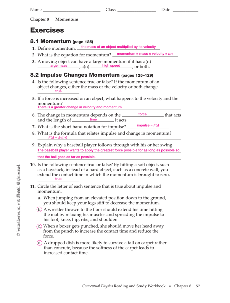 Chapter 8 Momentum Worksheet Answers llamadirectory – Worksheet Conservation of Momentum