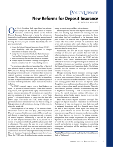 New Reforms for Deposit Insurance