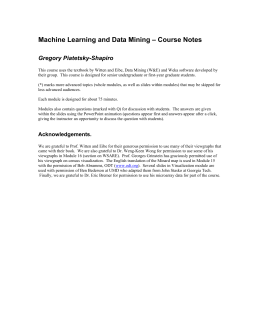 Machine Learning and Data Mining – Course Notes
