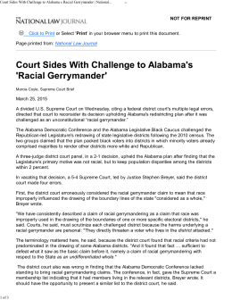 Court Sides With Challenge to Alabama s Racial Gerrymander