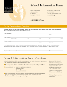 School Information Form Procedures School Information Form