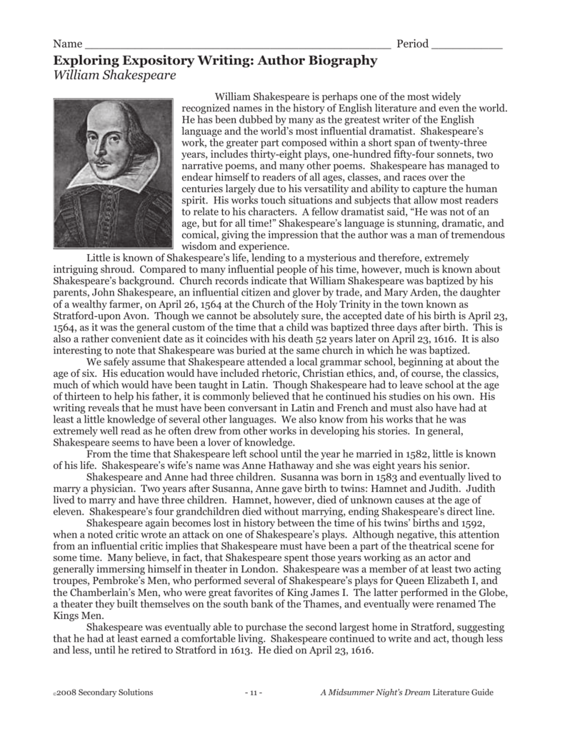 The Biography of William Shakespeare: [Essay Example], words GradesFixer