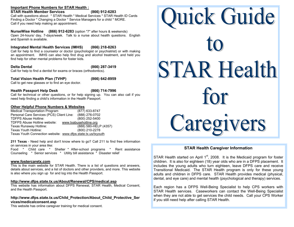 DFPS_Quick Guide to STAR Health 5 11 10