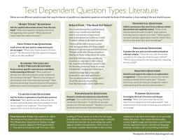 Text Dependent Question Types: Literature