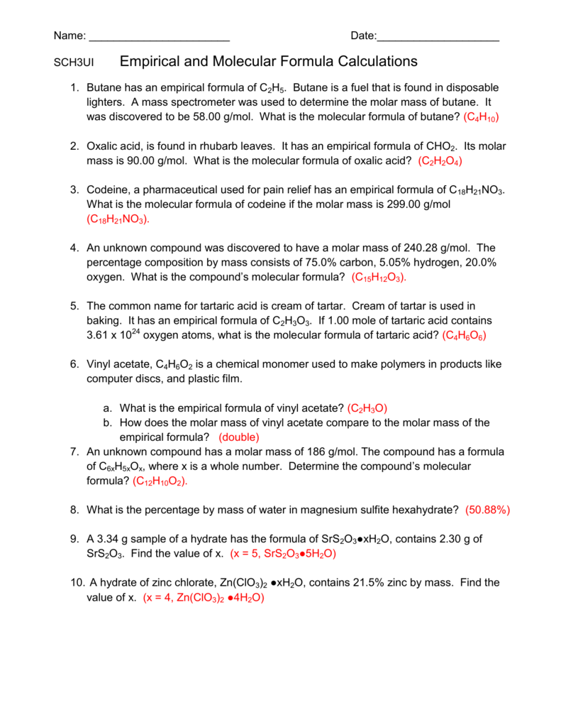 Determining molecular formulas worksheet answer key