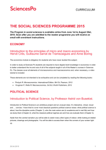 Information on classes  - Portail des Masters de Sciences Po
