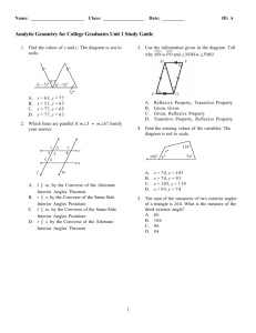 Analytic Geometry for College Graduates Unit 1 Study Guide