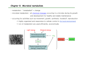 Chapter 8. Microbial metabolism