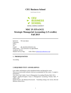 Syllabus Strategic Managerial Accounting_F2015 - CEU E