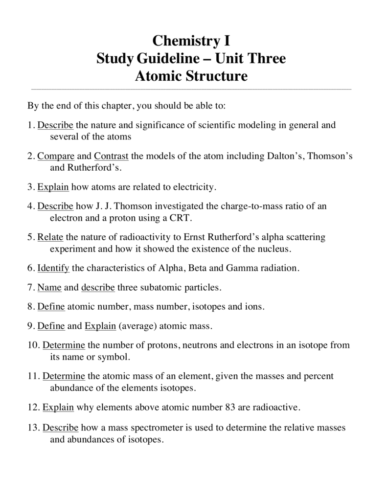 Unit 3 Atomic Structure Study Guide And H W Packet