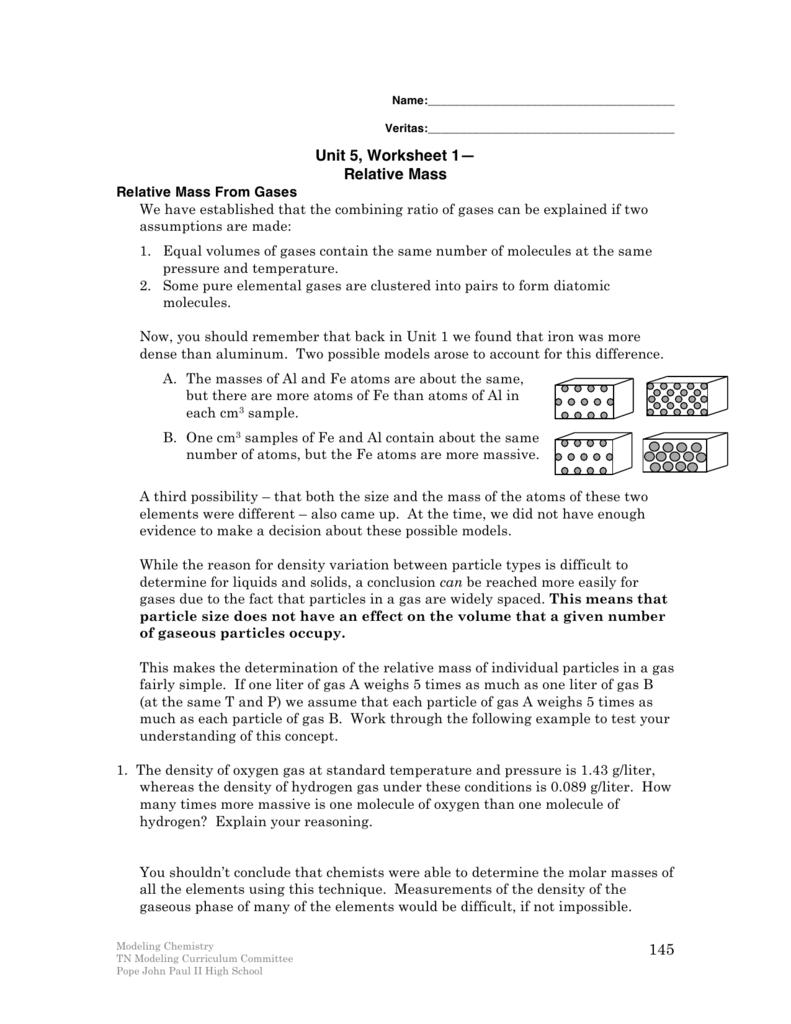145 Unit 5 Worksheet 1 Relative Mass