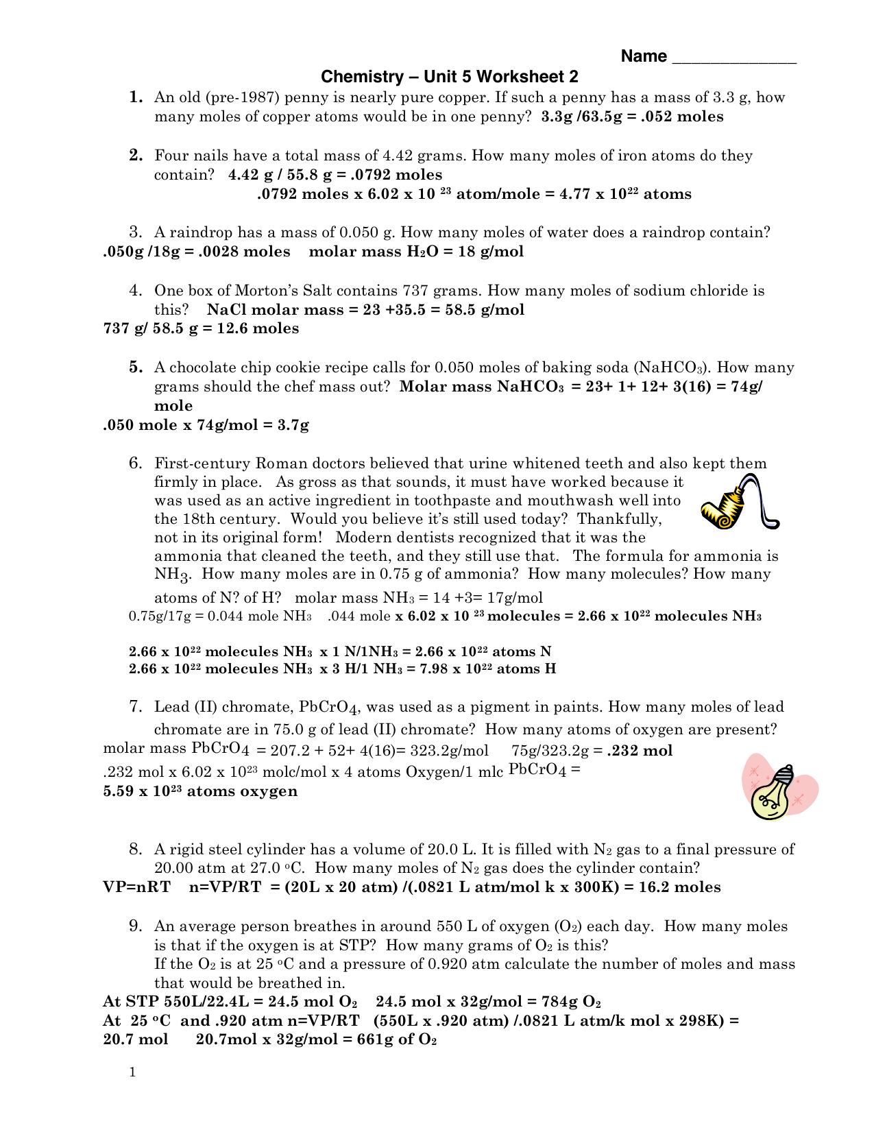 Worksheets Moles Molecules And Grams Worksheet unit 5 worksheet 2