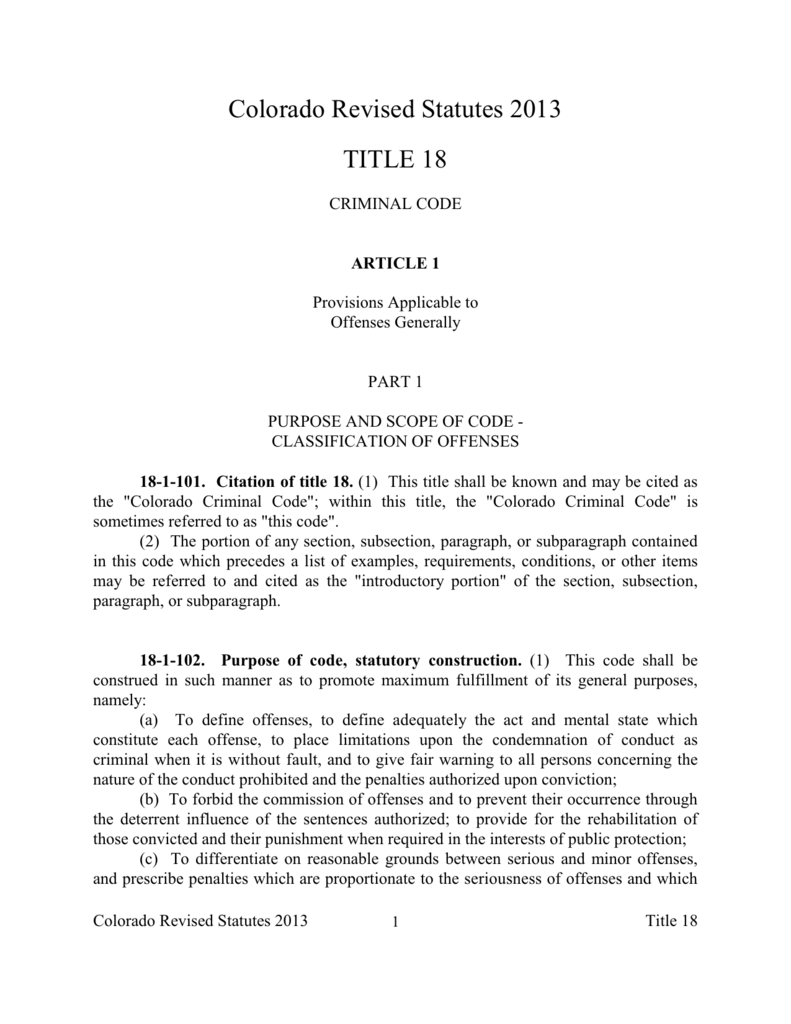 Colorado Revised Statutes 2013 TITLE 18