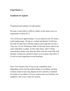 Experiment A Synthesis of Aspirin