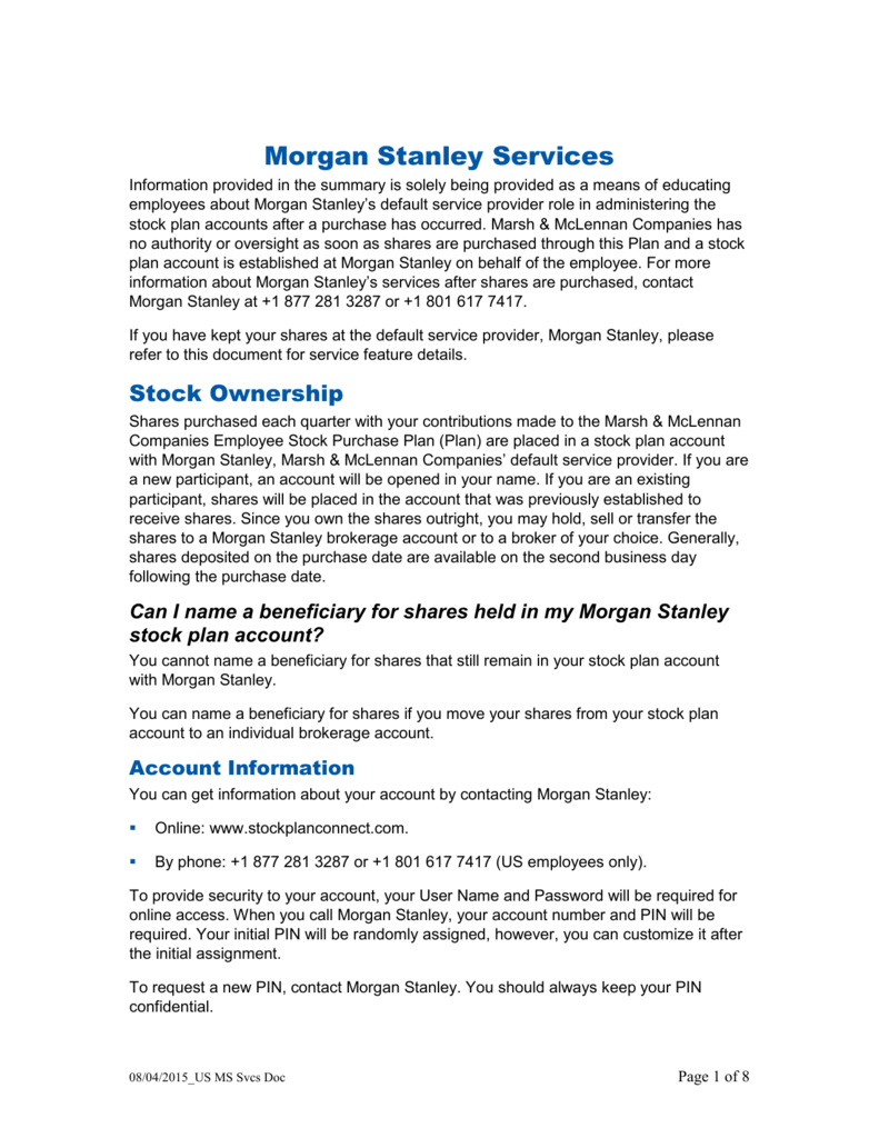 Employee Stock Purchase Plan Morgan Stanley Services