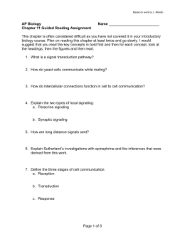 Page 1 of 5 AP Biology Name Chapter 11 Guided Reading