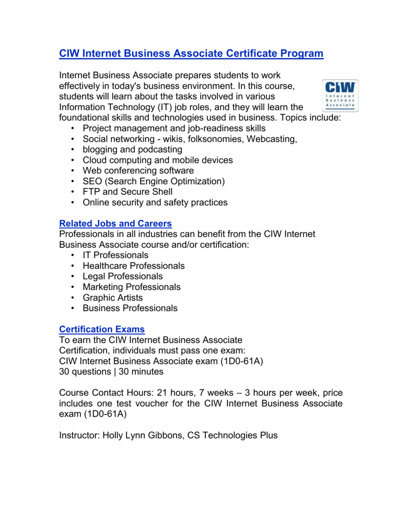 Ciw Internet Business Associate Certificate Program