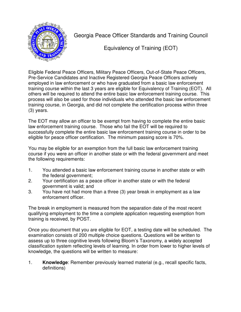 Equivalency of Training (EOT) - Georgia Peace Officer Standards