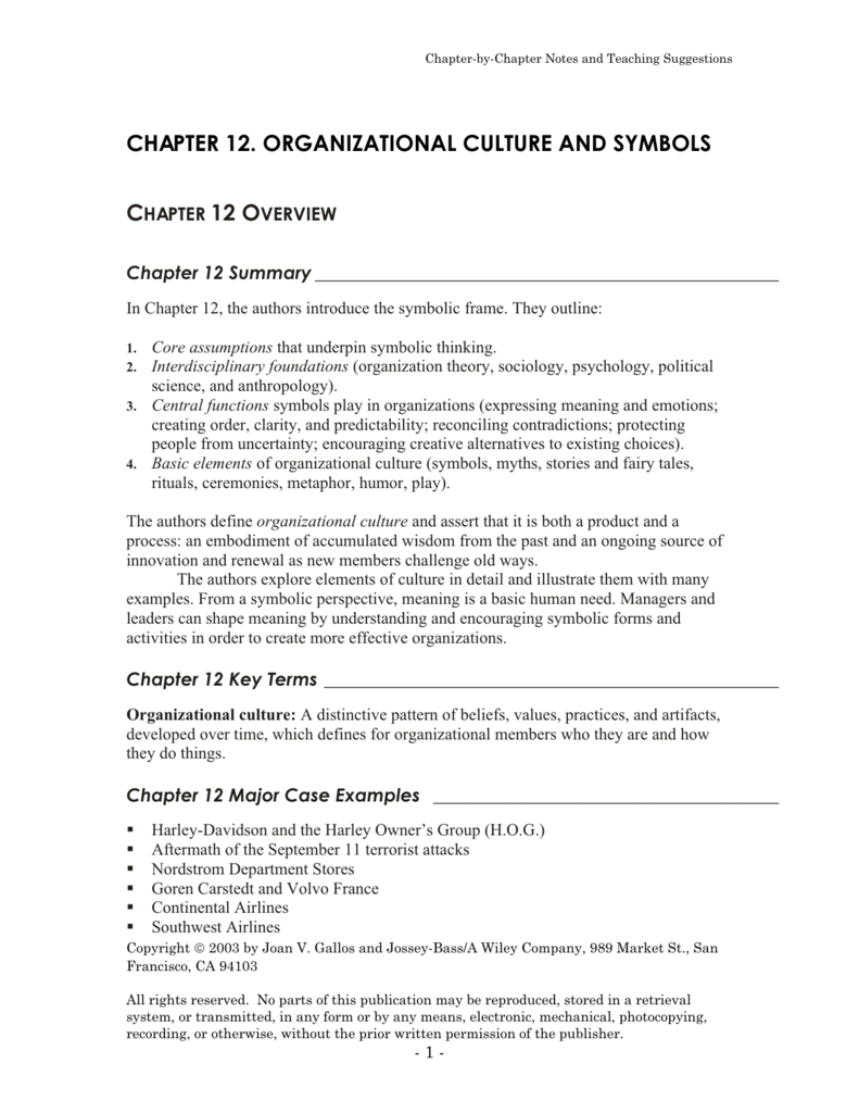 Chapter 12 Organizational Culture And Symbols