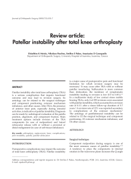 Review article: Patellar instability after total knee arthroplasty