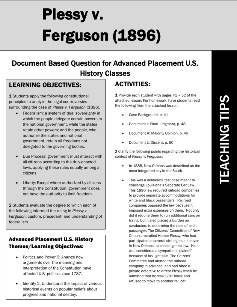 Plessy v ferguson essay for To what extent essay structure