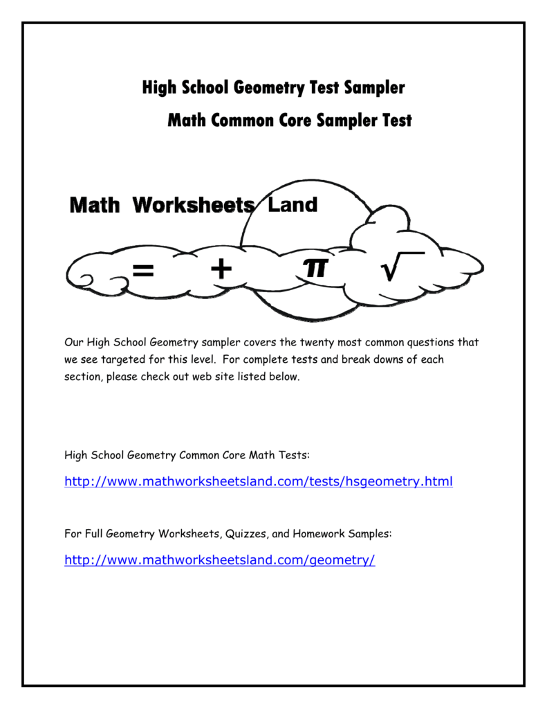 High School Geometry Common Core Sample Test