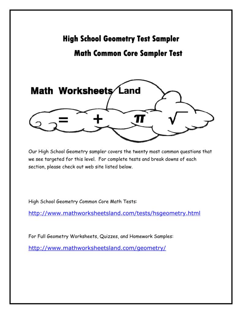 High School Geometry Common Core Sample Test – High School Geometry Worksheet