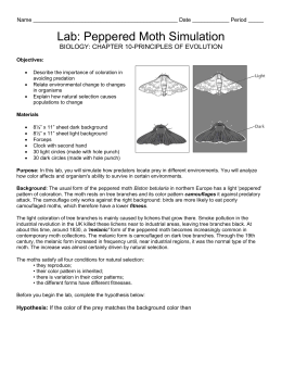 peppered moth lab report Most of the peppered moths in the area were light colored with dark spots as the industrial revolution progressed, the  peppered moth lab author: savitha.