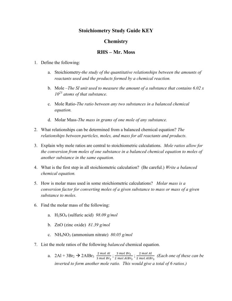 Stoichiometry Study Guide KEY Chemistry RHS – Mr  Moss