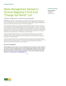 Waste Management Named to Fortune Magazine's First Ever