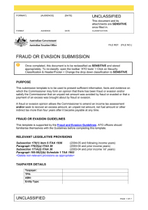 Fraud or evasion submission - Australian Taxation Office
