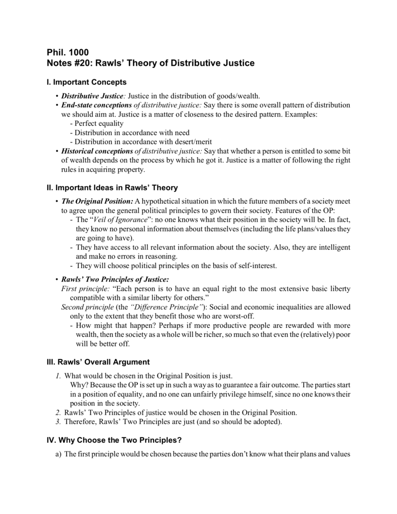 a theory of justice notes