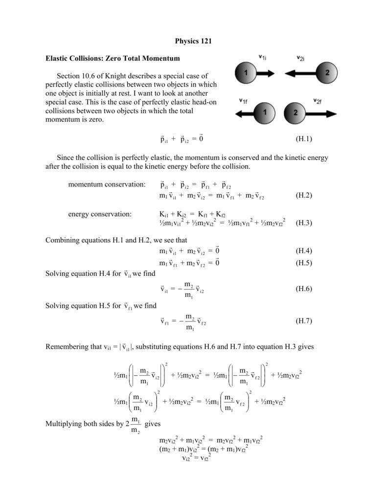 Physics 121 Elastic Collisions Zero Total Momentum Section 10 6 Of