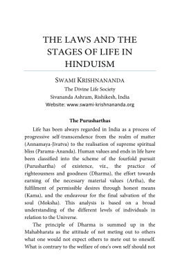 The Laws and the Stages of Life in Hinduism