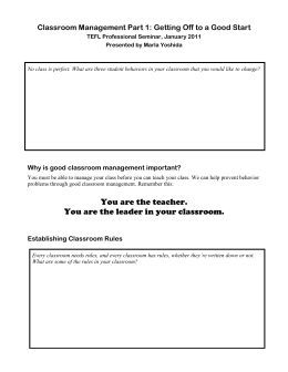 Handout Classroom Management Part 1