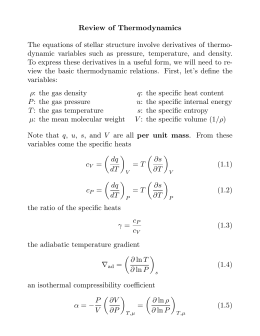 Review of Thermodynamics The equations of stellar structure