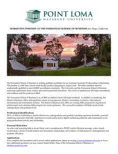 MARKETING POSITION AT THE FERMANIAN SCHOOL OF