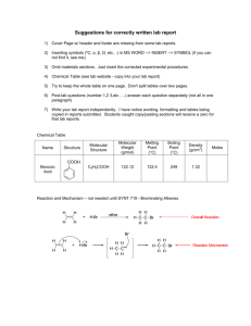 Suggestions for correctly written lab report