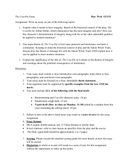 the crucible in class essay topics tj the crucible essay due wed 12 2 15 assignment write an