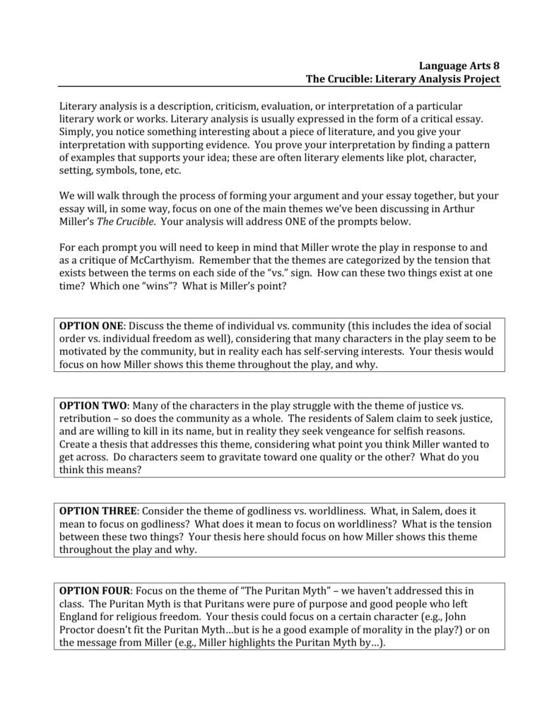 puritan literature analysis essay example